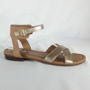 Clarks 10M Gold/Tan Ankle Strap Sandals